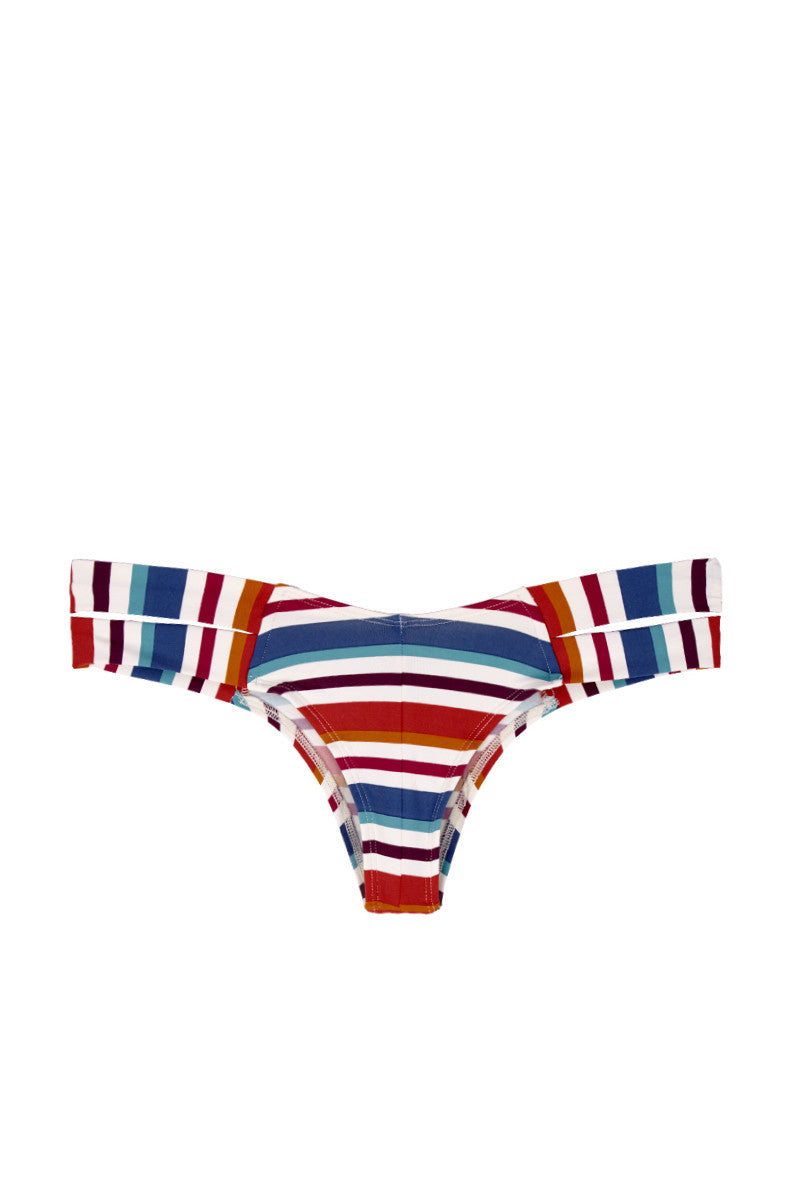 MONTCE SWIM Euro Double Strap Bikini Bottom - Retro Stripe Print Bikini Bottom | Retro Stripe Print| Montce Swim Euro Double Strap Bikini Bottom - Retro Stripe Print Bright stripe printed double strap bikini bottom. Unique striped pattern fabric offers a playful take on Montce Swim's best-selling bikini bottoms. Thick double side strap design prevents these bottoms from digging in and allows you to adjust the look. Low rise front elongates your torso while the cheeky backside coverage shows off your curves. Front View