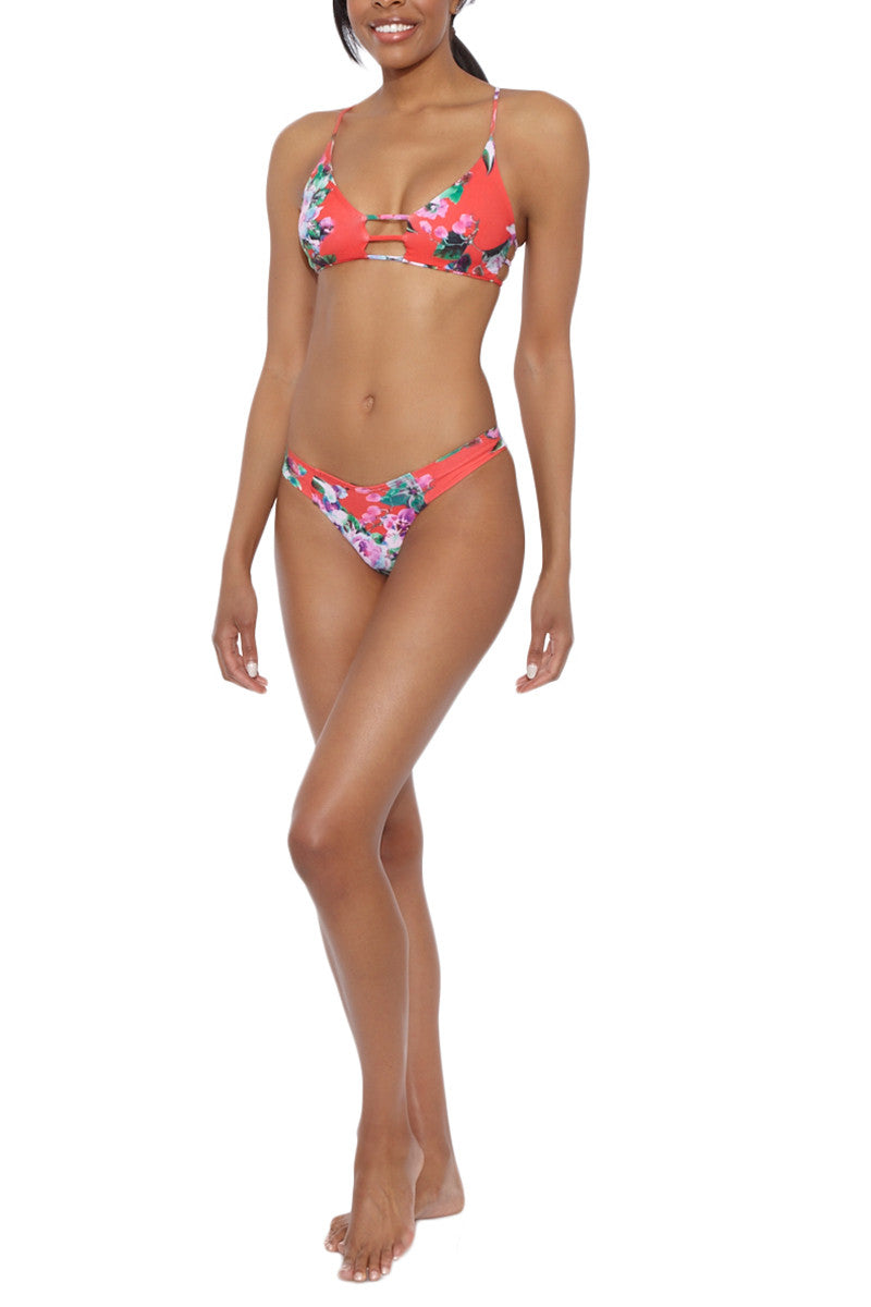 MONTCE SWIM Cage Strappy Cut Out Bikini Top - Red Floral Print Bikini Top | Red floral Print| Montce Swim Cage Strappy Cut Out Bikini Top - Red Floral Print. Features: Strappy front cut out. Strappy back. Red floral print. View: front