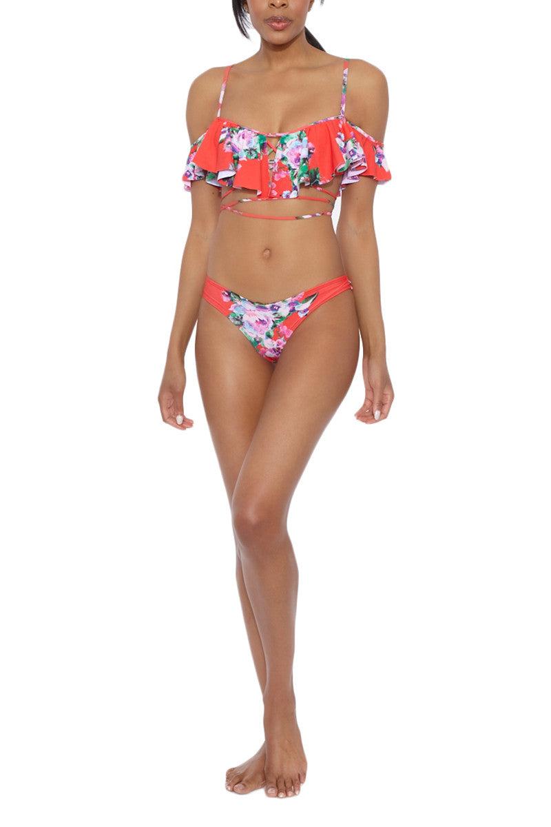 MONTCE SWIM Nu-Micro Bottom Bikini Bottom   Red Floral Print  Montce Swim Micro U Bottom