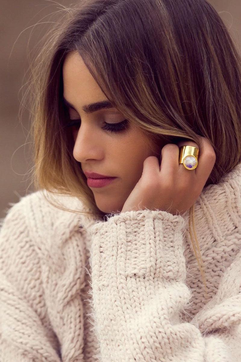 ELIZABETH STONE Moon Gazer Cuff Ring - Moonstone Jewelry | Moonstone| ELIZABETH STONE Moon Gazer Cuff Ring