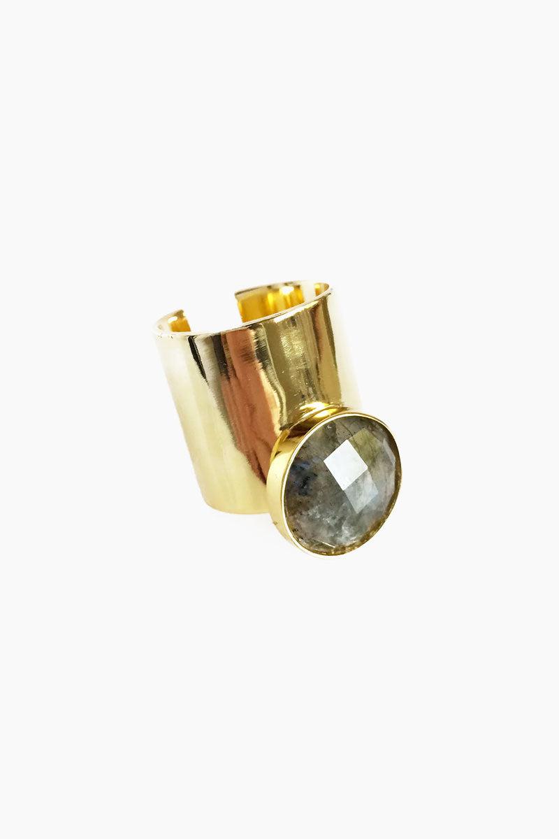 ELIZABETH STONE Moon Gazer Cuff Ring - Labradorite Jewelry   Labradorite  ELIZABETH STONE Moon Gazer Cuff Ring