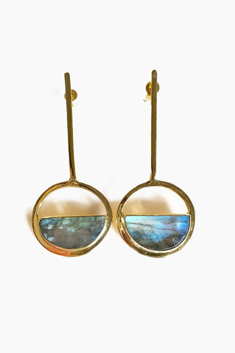 ELIZABETH STONE Moon Gazer Drop Earrings - Labradorite Jewelry | Labradorite| ELIZABETH STONE Moon Gazer Drop Earrings