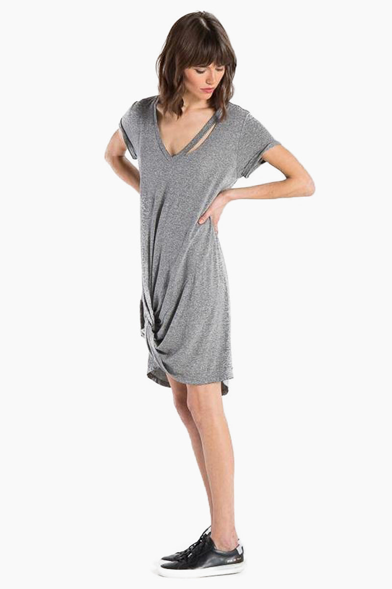 N:PHILANTHROPY Morrison Dress - Heather Grey Dress | Heather Grey| N:PHILANTHROPY Morrison Dress - Heather Grey. High/Low v neck dress Hand cut detail along front neck Front twist detail with high/low hem Cotton polyester blend jersey Machine wash cold like colors, lay flat to dry Made in LA Side View