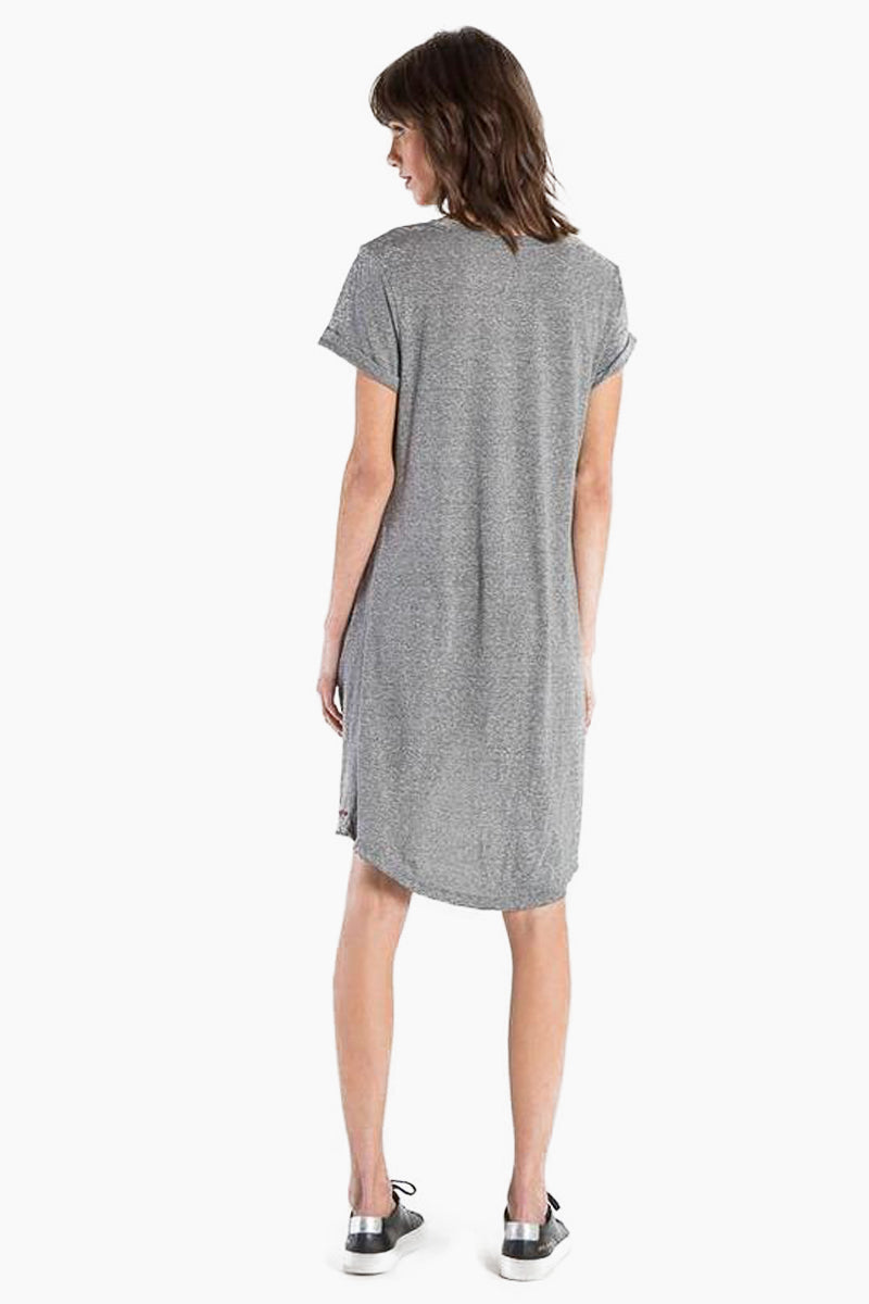 N:PHILANTHROPY Morrison Dress - Heather Grey Dress | Heather Grey| N:PHILANTHROPY Morrison Dress - Heather Grey. High/Low v neck dress Hand cut detail along front neck Front twist detail with high/low hem Cotton polyester blend jersey Machine wash cold like colors, lay flat to dry Made in LA Back View