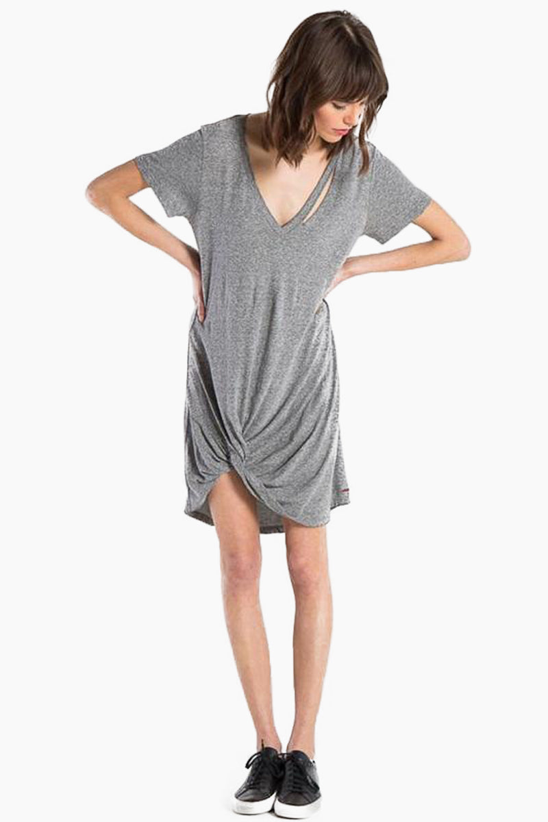 N:PHILANTHROPY Morrison Dress - Heather Grey Dress | Heather Grey| N:PHILANTHROPY Morrison Dress - Heather Grey. High/Low v neck dress Hand cut detail along front neck Front twist detail with high/low hem Cotton polyester blend jersey Machine wash cold like colors, lay flat to dry Made in LA Front View