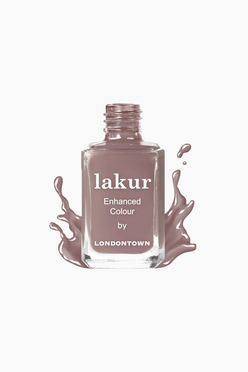 LONDONTOWN Natural Charm Nail Polish - Creamy Mauve Purple Nails | Purple| LONDONTOWN Natural Charm Nail Polish - Purple. Features: Your Natural Charm will light up the room with this creamy mauve purple shade.  Give your nails the good stuff. Florium Complex infused Lakur takes color to the next level by fusing bold hues with enriching botanicals to deliver long-lasting., high-shine wear that hydrates and strengthens with every application. Don't choose between nail care and color, pick both.  Made in USA  9-Free, Cruelty-Free, Vegan