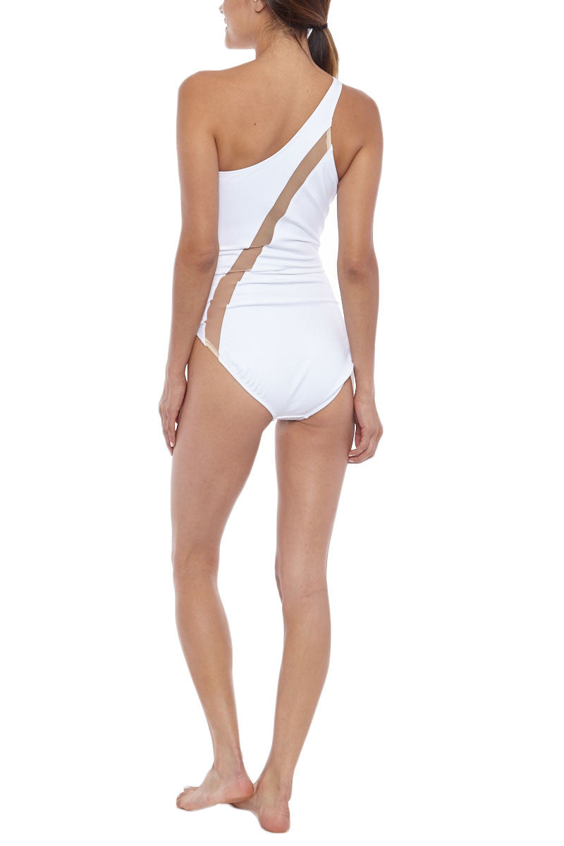 NORMA KAMALI One Shoulder One Piece - White One Piece | White/ Nude Inset| NORMA KAMALI One Shoulder One Piece White. Back View. Cut on the right shoulder  Asymmetrical neckline Diagonal nude mesh insert across the body from shoulder to hip Moderate coverage  Unpadded 87% Nylon, 13% Spandex