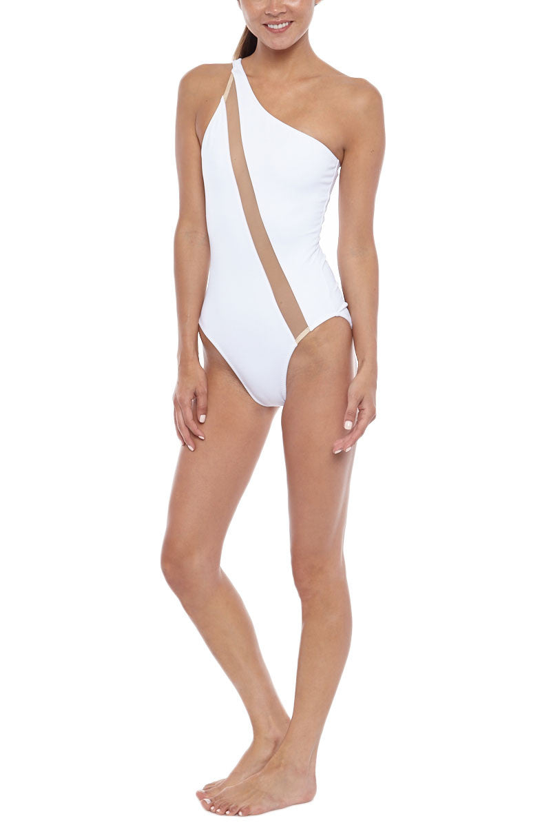 NORMA KAMALI One Shoulder One Piece - White One Piece | White/ Nude Inset| NORMA KAMALI One Shoulder One Piece White. Front View. Cut on the right shoulder  Asymmetrical neckline Diagonal nude mesh insert across the body from shoulder to hip Moderate coverage  Unpadded 87% Nylon, 13% Spandex