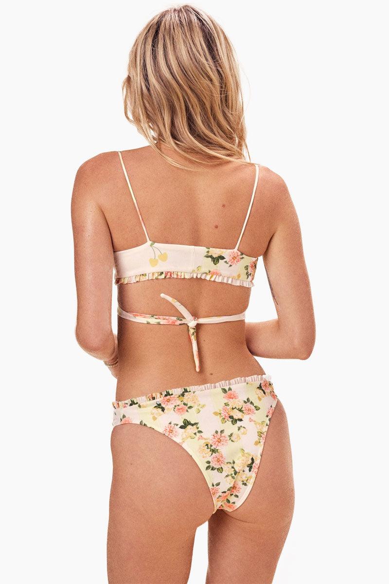 FOR LOVE AND LEMONS Nashville High Cut Bikini Bottom - Buttercreme Mixed Prints Bikini Bottom | Buttercreme| For Love And Lemons Nashville High Cut Bikini Bottom – Buttercreme. Features: •Mixed Prints •Slightly High Cut •Cheeky Back View