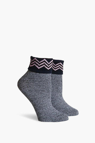 RICHER POORER Navy Arietty Fold Top Ankle Accessories | Navy| Richer Poorer Navy Arietty Fold Top Ankle Women's Lightweight Ankle Socks Folded Top Chevron Print