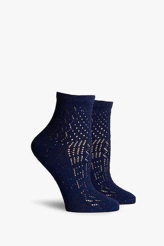 RICHER POORER Navy Margot Ankle Accessories | Navy| Richer Poorer Navy Margot Ankle Lightweight Ankle Socks Lace Cut Outs Combed Cotton Fabrication Deep Heel Pocket Y-Stitch Detail