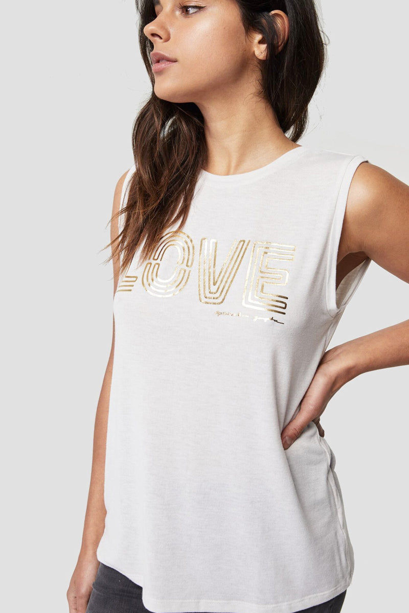 """SPIRITUAL GANGSTER Foil Love Chakra Tank Top - Stone White & Gold Top 