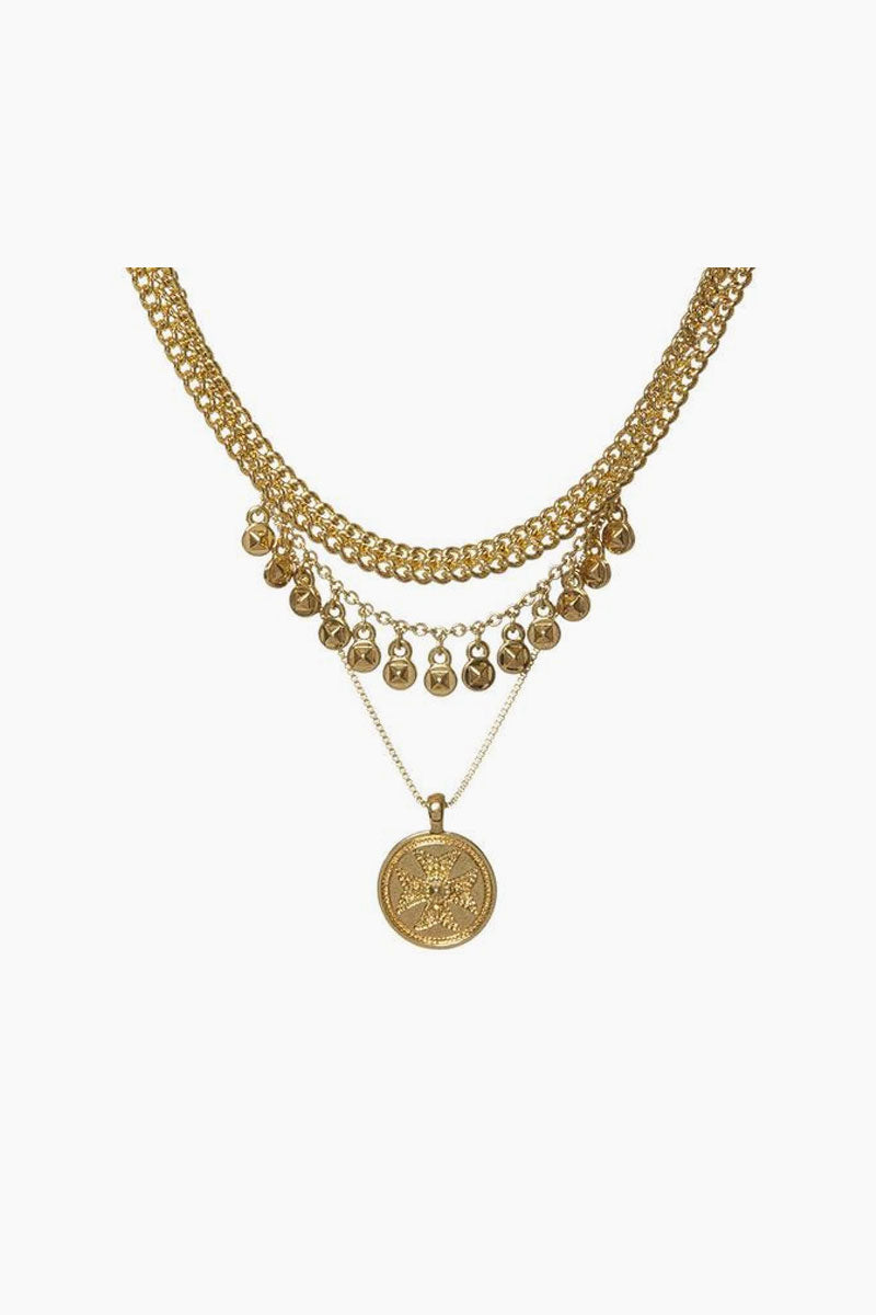 "LUV AJ Noa Coin Charm Necklace - Gold Jewelry | Gold| Luv Aj Noa Coin Charm Necklace - Gold Close View Triple Chain Necklace with Hanging Coin Charms Top chain is 11.5"" Entire necklace has 2"" of extender chain Plated Antique Gold Made from Brass"