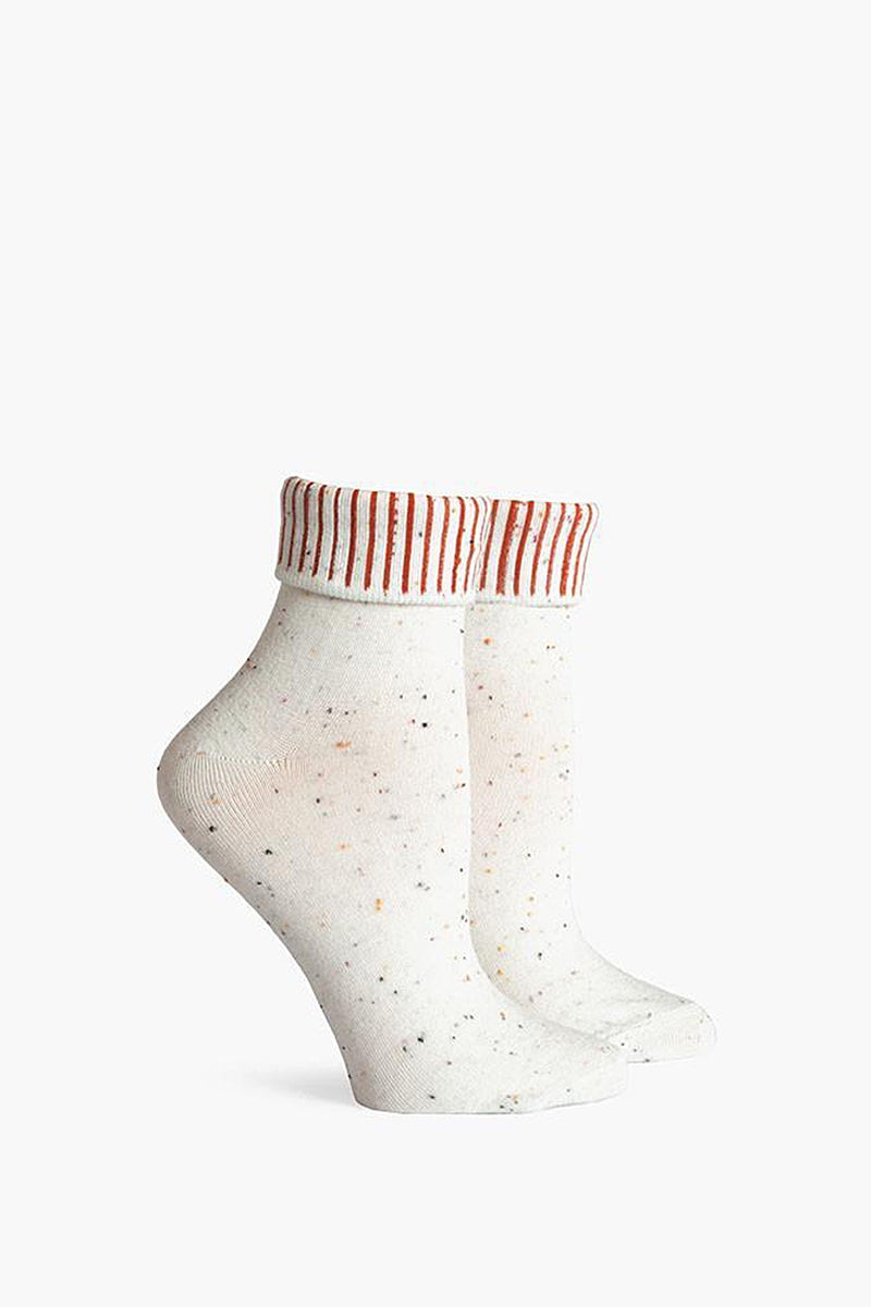 RICHER POORER Nori Fold Top Ankle Accessories | Cream| Richer Poorer Nori Fold Top Ankle Lightweight Ankle Sock Striped Folded Cuffs Speckled Print Deep Heel Pocket Y-Stitch Detail