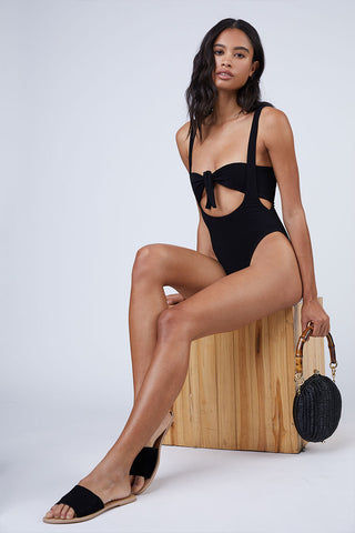 NORMA KAMALI Bandeau Bikini Top - Black Bikini Top | Black| Norma Kamali Bandeau Bikini Top - Black  Features:  Bandeau style Strapless  Tie closure in the front or back  Front View