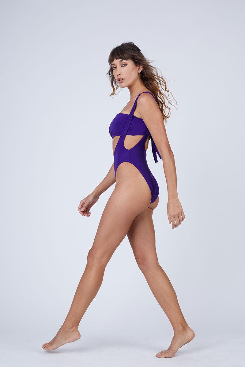 NORMA KAMALI Bandeau Bikini Top - Purple Bikini Top | Purple| Norma Kamali Bandeau Bikini Top - Purple Bandeau style Strapless  Tie closure in the front or back  Side View