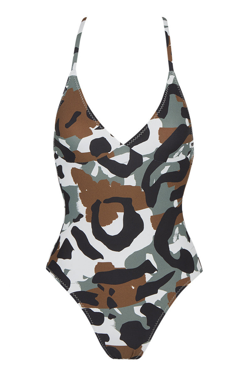NORMA KAMALI Slip Mio Criss Cross One Piece Swimsuit - Leopard Camo Print One Piece | Leopard Camo Print| Norma Kamali Slip Mio Criss Cross One Piece Swimsuit - Leopard Camo Print High-cut open back one piece swimsuit in eye-catching leopard camo print. Luxe, smooth swim jersey fabric slims the body and is fully lined for ultimate wearability. Skinny slip straps criss-cross over the deep open back. Tank-style scoop neck reveals a touch of cleavage without any top padding. High-cut leg elongates your frame while still providing moderate rear coverage. Front View