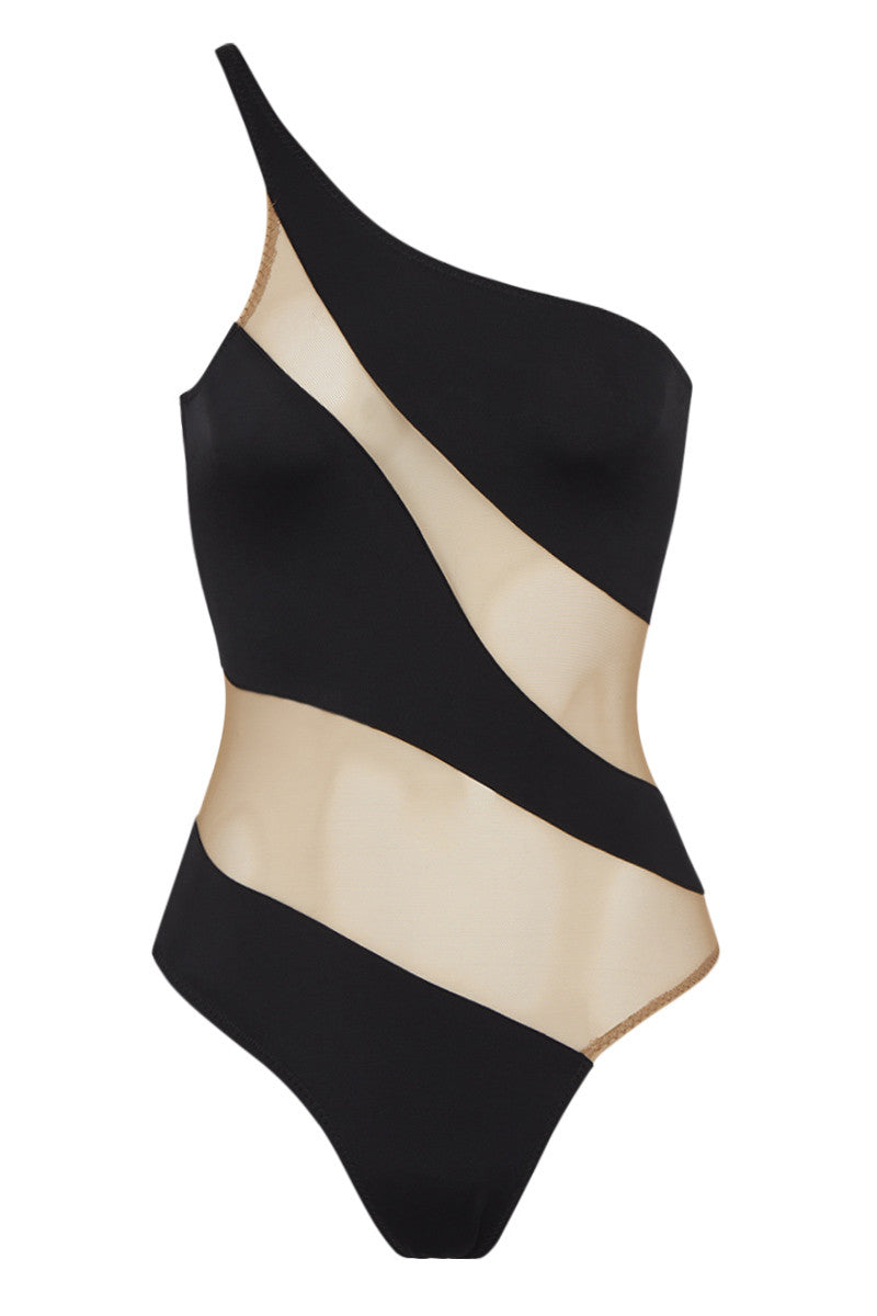 NORMA KAMALI Snake Mesh Mio - Black One Piece | Black/Nude| Norma Kamali Snake Mesh Mio One Piece -Features:  One shoulder  High cut leg  Nude mesh cutouts  Fully lined  Nylon/Spandex  Hand wash  Front View