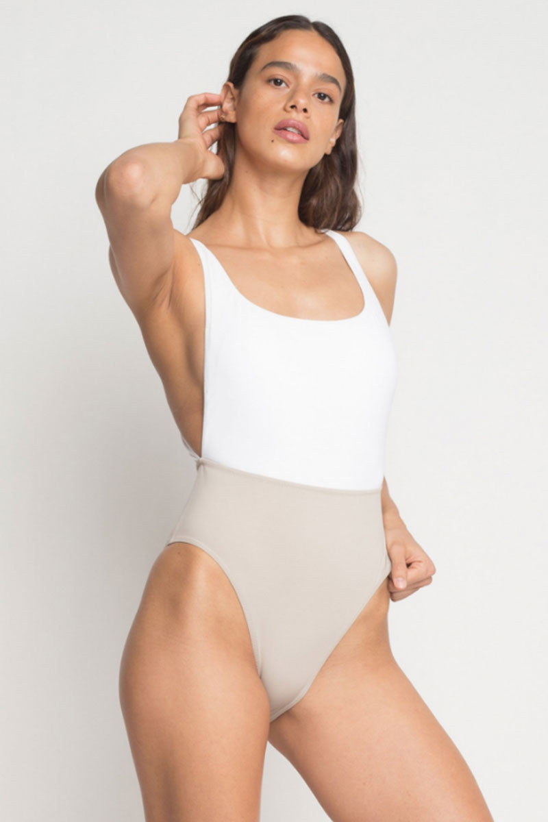 KORE Nyx Color Block High Cut One Piece Swimsuit - Vanilla White/Latte Brown One Piece | Stone/White| KORE NYX Maillot