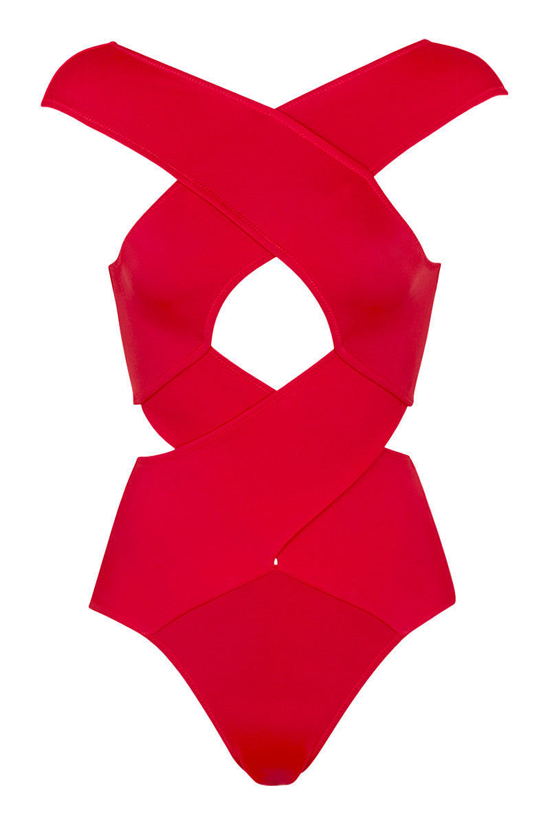 OYE SWIMWEAR Chiara Cut Out One Piece Swimsuit - Red One Piece   Red  OYE Swimwear Chiara Cut Out One Piece Swimsuit - Red . Features: Figure shaping statement red on piece swimsuit. Deep red color perfect for all skin tones. Geometric cutout details at bust and side for hourglass look. Plunge V-back. Full bottom coverage. Can be worn as a body suit.