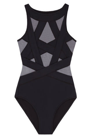 OYE SWIMWEAR Esther Sheer Cut Out One Piece Swimsuit - Black One Piece | Black| Oye Swimwear Esther Sheer Cut Out One Piece Swimsuit - Black. Features : Sheer and opaque wrapped microfiber one piece. Pull on.