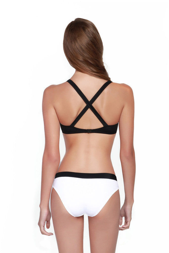 OYE SWIMWEAR Luna Bicolor Full Bikini Bottom - White & Black Bikini Bottom | White & Black| OYE Swimwear Luna Bicolor Full Bikini Bottom - White & Black Features: Fully coverage. Fully lined Back View