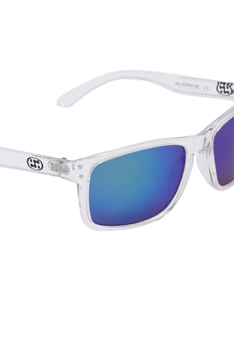 SURREAL SUNGLASSES Premium Classic Sunglasses - Clear/Blue Sunglasses | Clear/Blue|Surreal Sunglasses Premium Classic Sunglasses - Clear/Blue Lightweight classic rectangular frame Ridged Temples REVO coated lens Full UV 400 A/B protection Front View