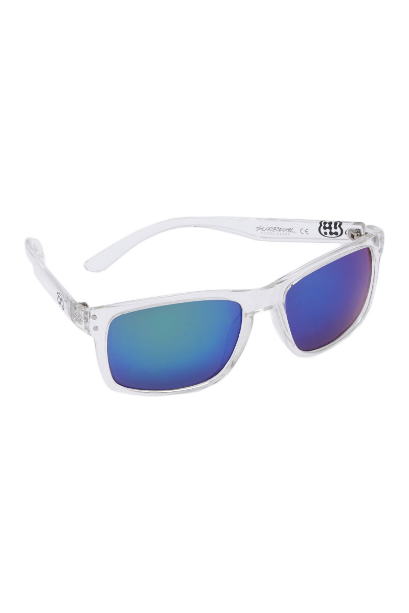 SURREAL SUNGLASSES Premium Classic Sunglasses - Clear/Blue Sunglasses | Clear/Blue|Surreal Sunglasses Premium Classic Sunglasses - Clear/Blue Lightweight classic rectangular frame Ridged Temples REVO coated lens Full UV 400 A/B protection Side View