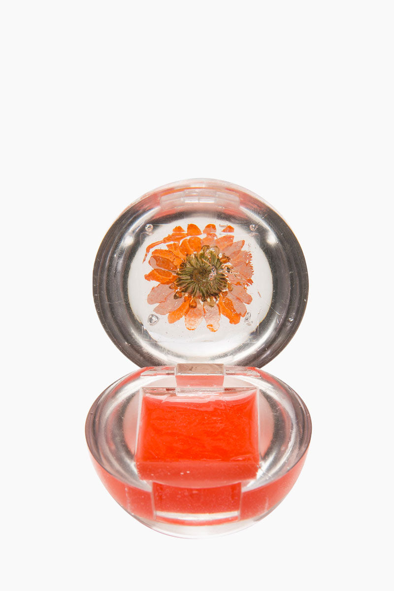 BLOSSOM Duo Lip Gloss Ball - Orange Flower Beauty | Orange Flower| Blossom Duo Lip Gloss Ball - Orange Flower Lip gloss clear ball  Goes on clear with magenta pink tint  Fresh floral blossom Open View