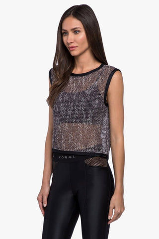 KORAL Phosphenes Plexus Mesh Crop Top - Black Top | Black| Koral Phosphenes Plexus Mesh Crop Top - Black Cropped at natural waist Open mesh is crocheted from a soft and silky yarn Sleeveless Contrast binding along neckline, armholes and waist hem Side View