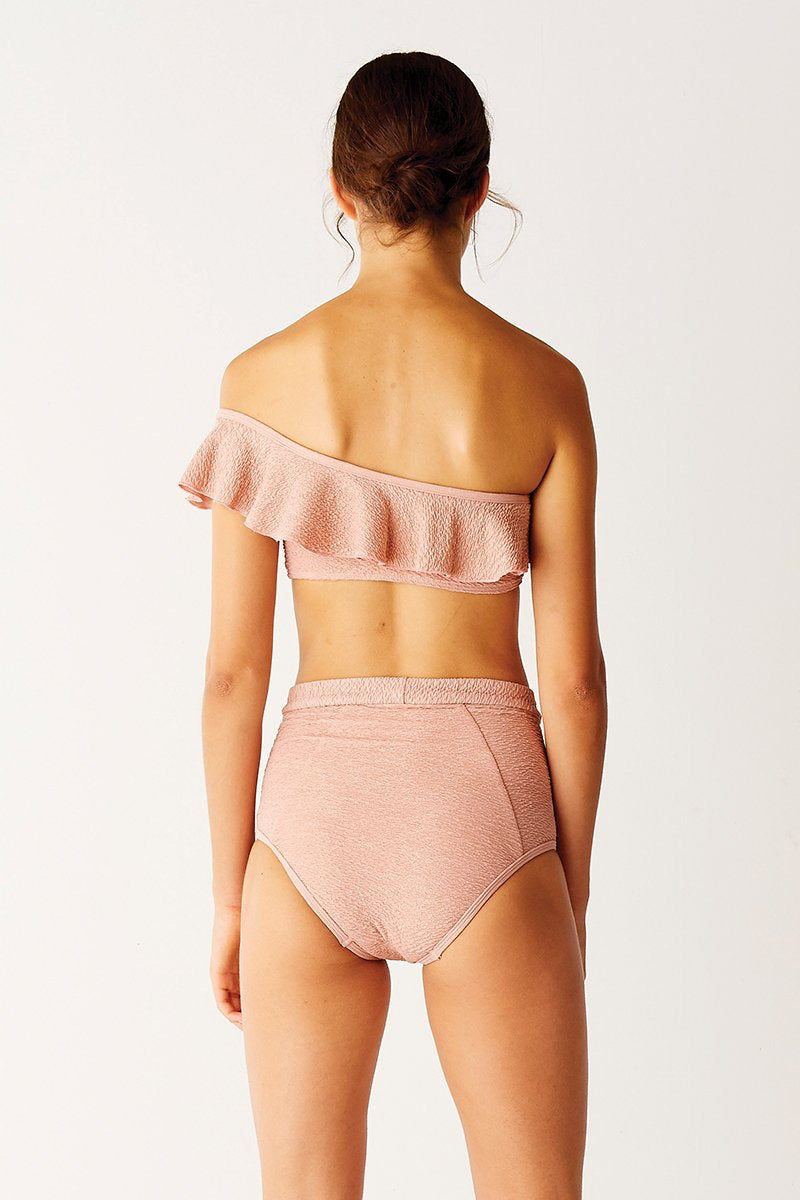 SUBOO High Waisted Bikini Bottom - Pink Sands Bikini Bottom | Pink Sands| Suboo High Waisted Bikini Bottom - Pink Sands Features:  High waisted bottom Beautiful rose gold metallic textured fabric thin waistband stitch panel for structured design Fabric Composition: Polyester/Elastane Outer | Nylon/Elastane Lining Made in Australia Back View