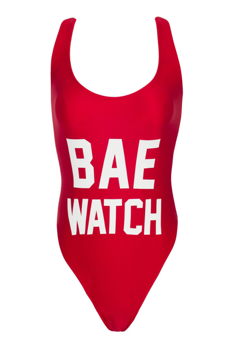 PRIVATE PARTY Bae Watch One Piece Swimsuit - Red and White One Piece | Red and White| private party bae watch