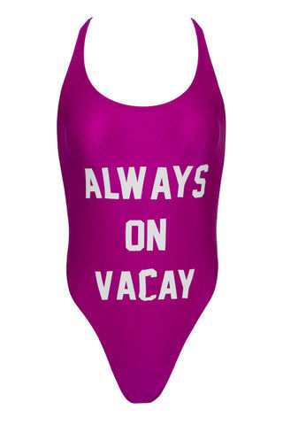 PRIVATE PARTY Always On Vacay One Piece Swimsuit - Purple and White One Piece | Purple and White| private party always on vacay
