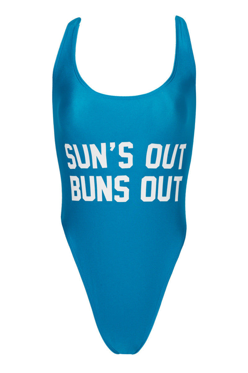 PRIVATE PARTY Sun's Out Buns Out Tank High Cut One Piece Swimsuit - Buns Out Blue One Piece   Buns Out Blue  Private Party Sun's Out Buns Out Tank High Cut One Piece Swimsuit - Buns Out Blue Classic California bathing suit High cut, low back Form fitting nylon tricot with lining Front View