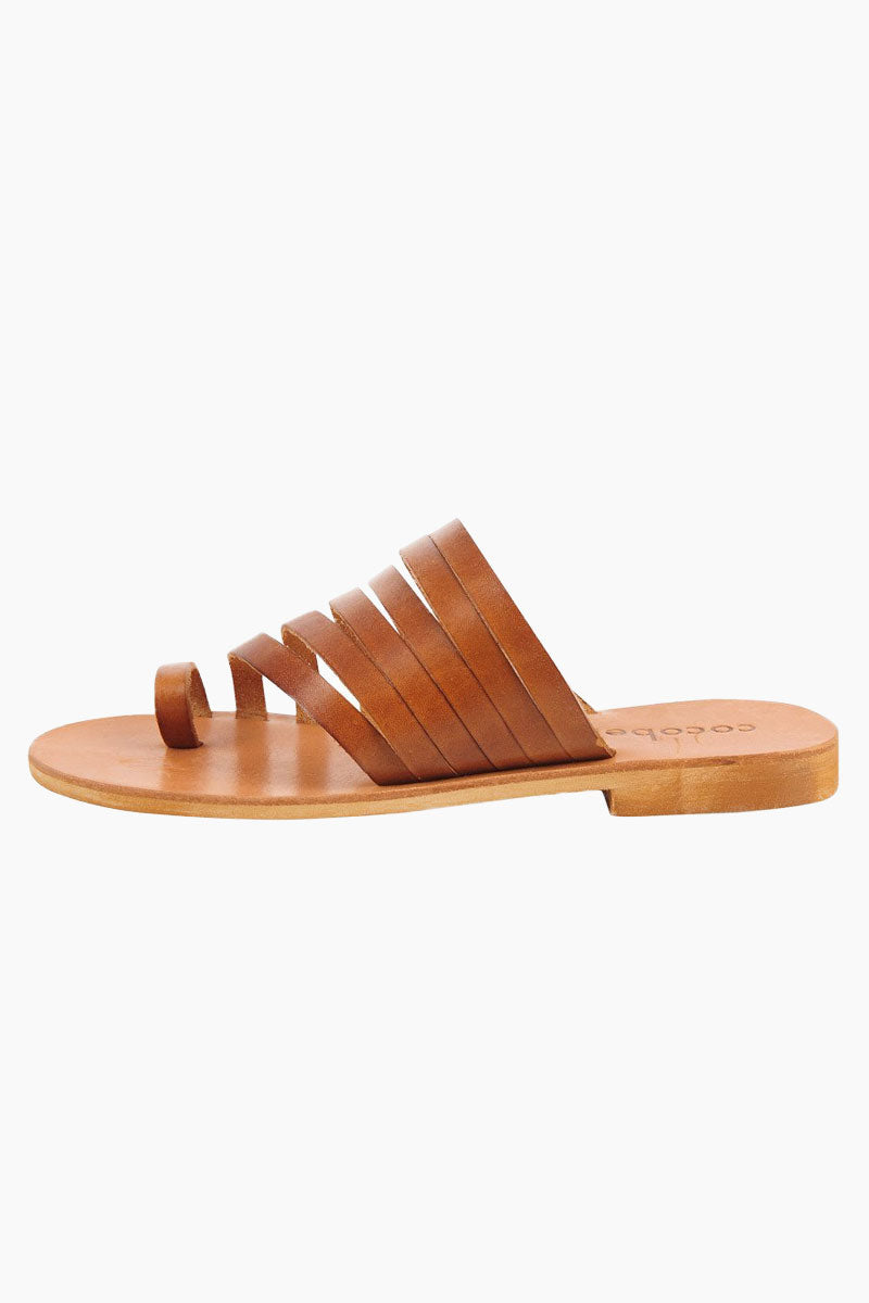 COCOBELLE Palermo Sandals - Brown Sandals | Brown| Cocobelle Palermo Sandals - Features:  Strappy slide sandal Leather cut straps Toe loop side view