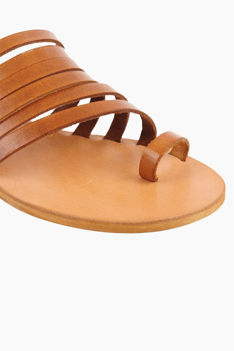 COCOBELLE Palermo Sandals - Brown Sandals | Brown| Cocobelle Palermo Sandals - Features:  Strappy slide sandal Leather cut straps Toe loop Close up view