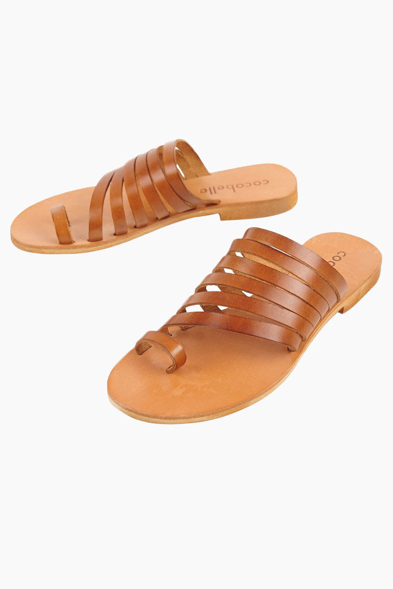 COCOBELLE Palermo Sandals - Brown Sandals | Brown| Cocobelle Palermo Sandals - Features:  Strappy slide sandal Leather cut straps Toe loop Front View