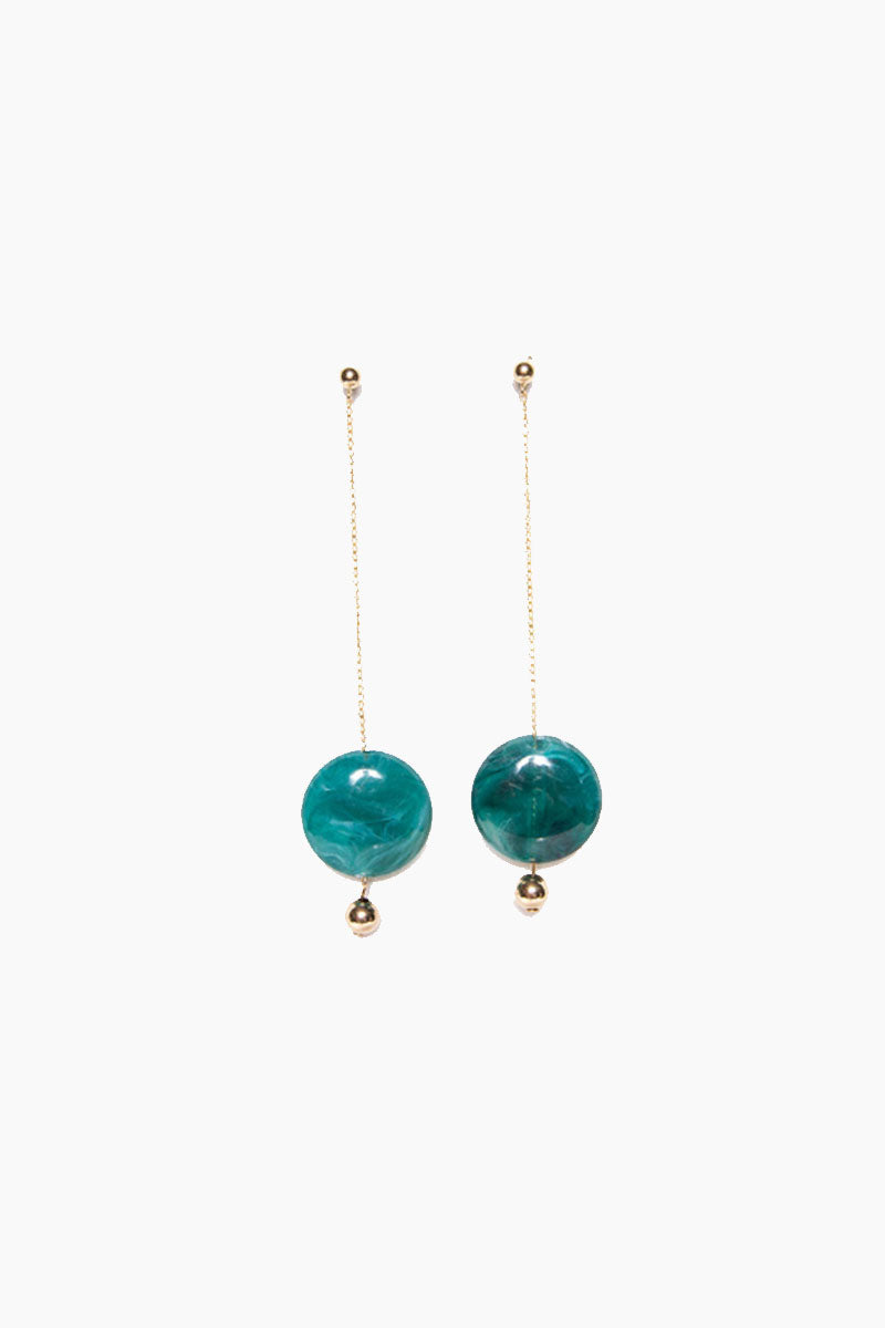 "PARADIGM DESIGN Pendulum Duster Earrings - Gold Emerald Jewelry | Gold Emerald| Paradigm Design Pendulum Duster Earrings - Gold Emerald Gold filled detail Emerald acrylic bead dropped from a fine chain 4 1/2"" in length Front View"