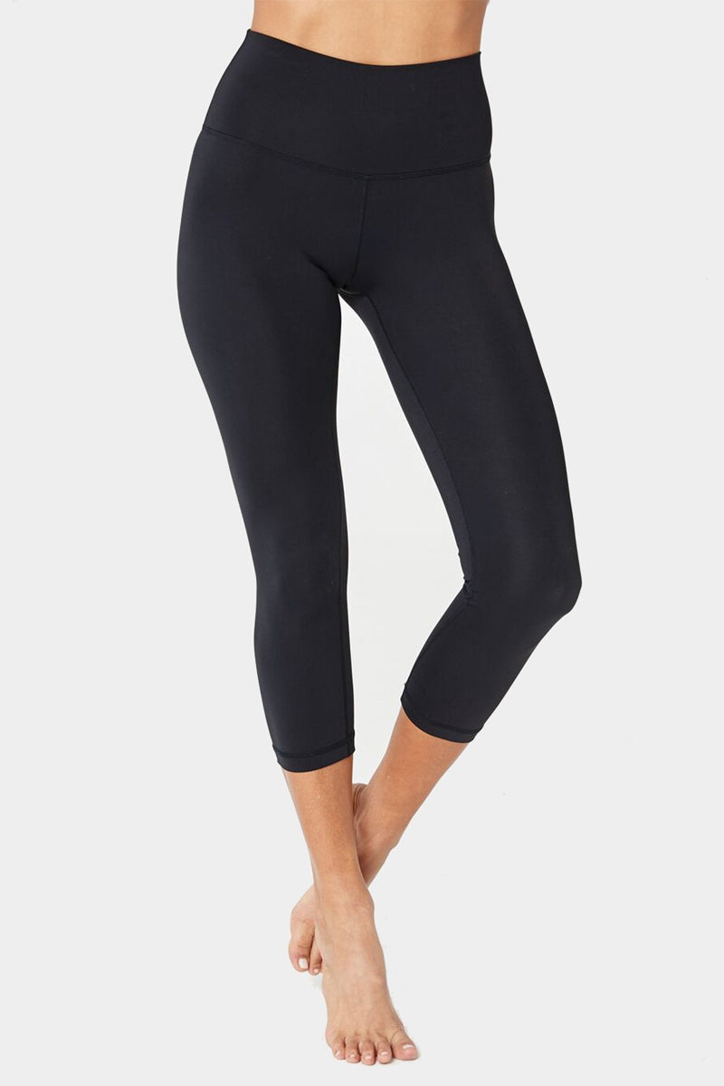 SPIRITUAL GANGSTER Perfect High Waisted Crop Leggings - Black Leggings | Black| Spiritual Gangster Perfect High Waisted Crop Leggings - Black High Waisted Cropped Leggings Front View