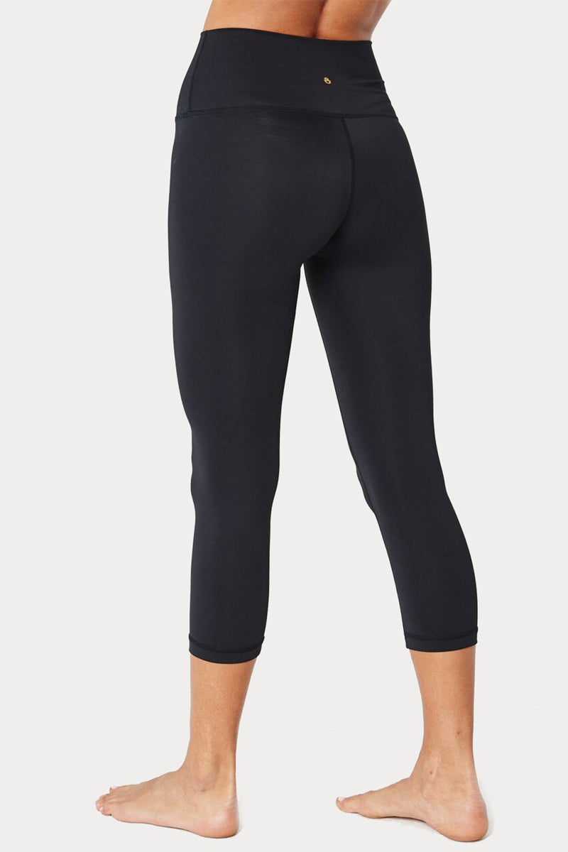 SPIRITUAL GANGSTER Perfect High Waisted Crop Leggings - Black Leggings | Black| Spiritual Gangster Perfect High Waisted Crop Leggings - Black High Waisted Cropped Leggings Back View