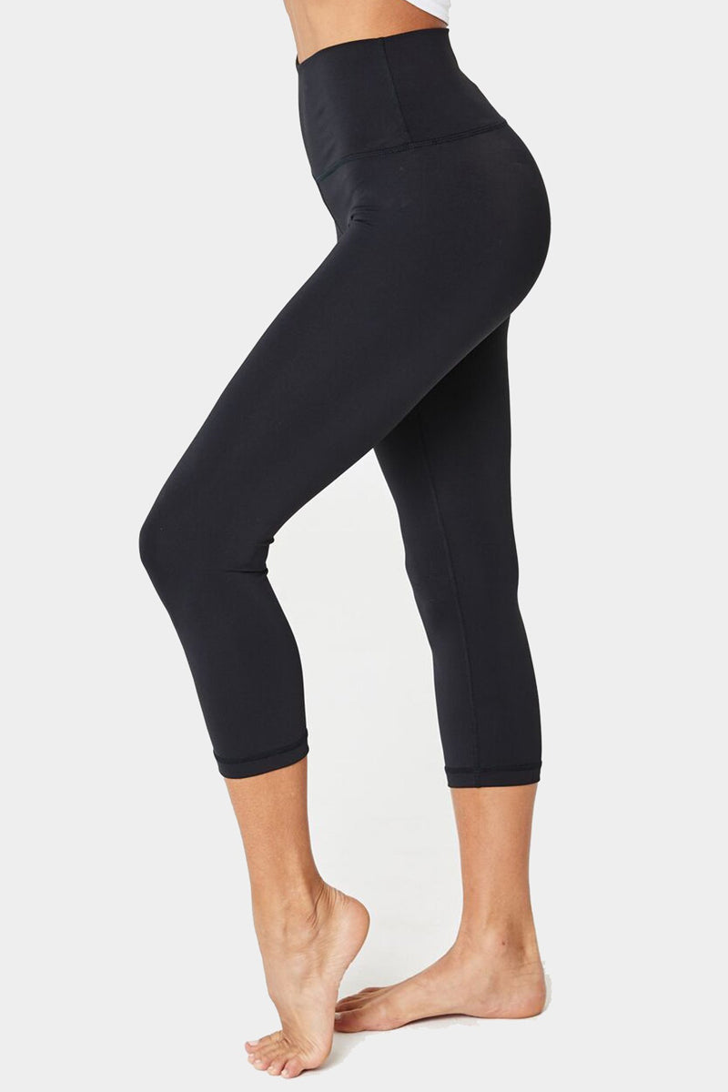 SPIRITUAL GANGSTER Perfect High Waisted Crop Leggings - Black Leggings | Black| Spiritual Gangster Perfect High Waisted Crop Leggings - Black High Waisted Cropped Leggings Side View