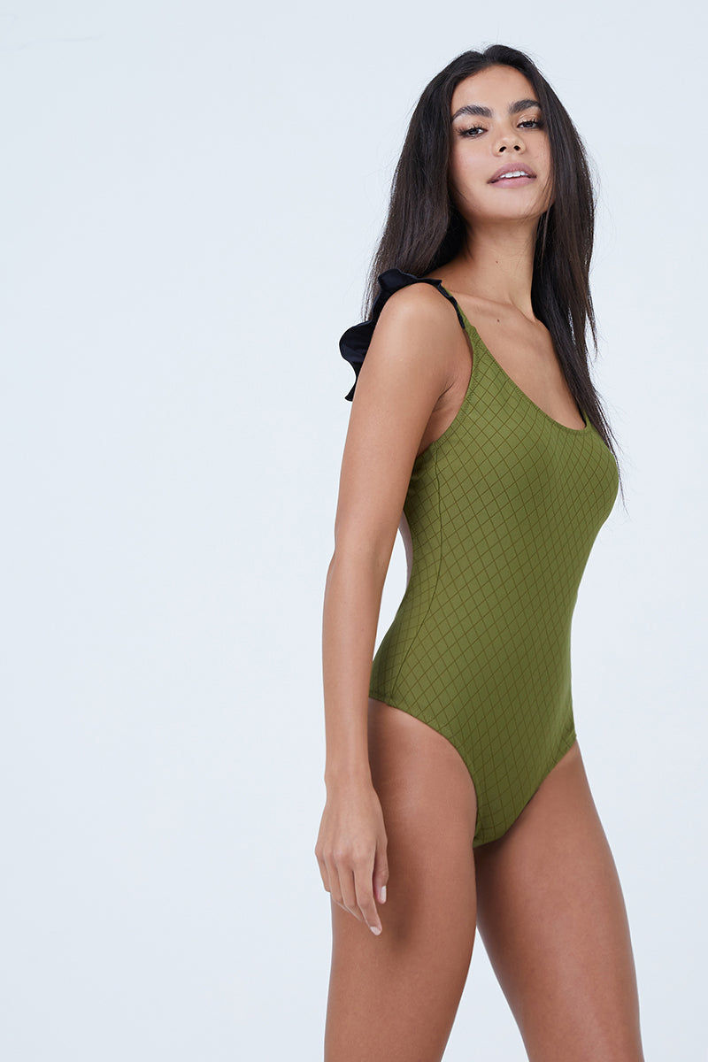 MADE BY DAWN Petal Ruffle Cap Sleeves One Piece Swimsuit - Olive Lattice One Piece | Olive Lattice| Made By Dawn Petal Ruffle Cap Sleeves One Piece Swimsuit - Olive Diamond Scoop neckline  Fixed ruffle cap sleeves Full coverage 88% Micro-Nylon 12% Spandex Made in the USA Front View
