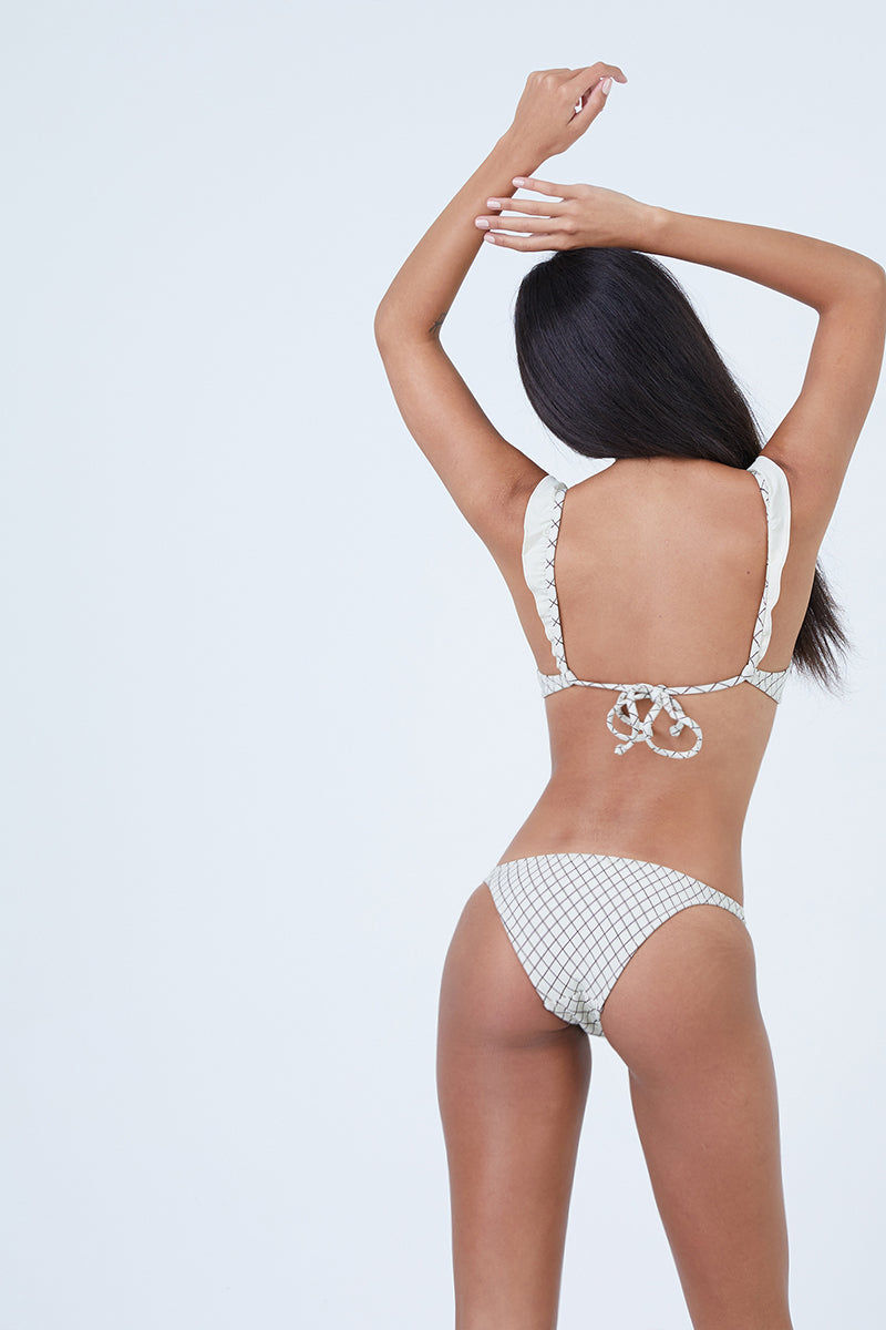 MADE BY DAWN Petal Low Rise Bikini Bottom - Grainline Lattice Bikini Bottom | Grainline Lattice| Made by Dawn Petal Low Rise Bikini Bottom - Grainline Latice. Features:  Low rise Narrow sides  Off-white/brown 2 tone diamond jacquard 80% Micro-Poly 11% Nylon 9% Spandex Made in the USA Front View
