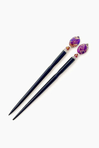 TIDAL HAIR STICKS Petra Hair Sticks (Set of 2) - Purple Hair Accessories | Petra Hair Sticks (Set of 2) - Purple | Tidal Hair Sticks