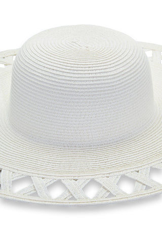 PIA ROSSINI Carla Hat - White Hat | White| Pia Rossini Carla Hat Large Wide Brim Floppy Straw Hat Cut Outs on Brim Shapeable for Packing Lightweight and Durable 22.4 x 4. 3 x 5.5 inches