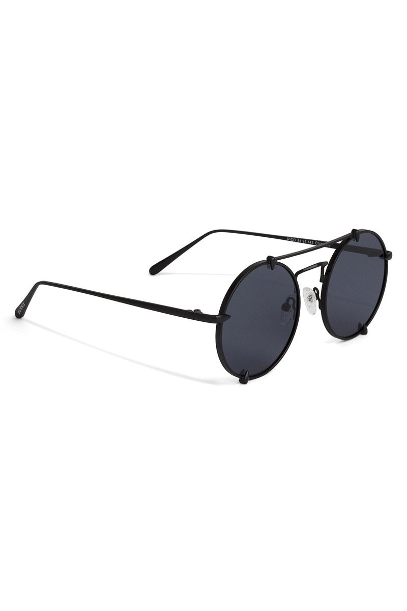 BONNIE CLYDE The Pico Sunglasses - Bushido Black Sunglasses | Bushido Black| The Pico Sunglasses - Bushido Black. Features: This style goes perfectly well with heart, square, oval and oblong faces. 100% UV Protection Glare reduction Scratch-resistant coating Made from High-Nickel