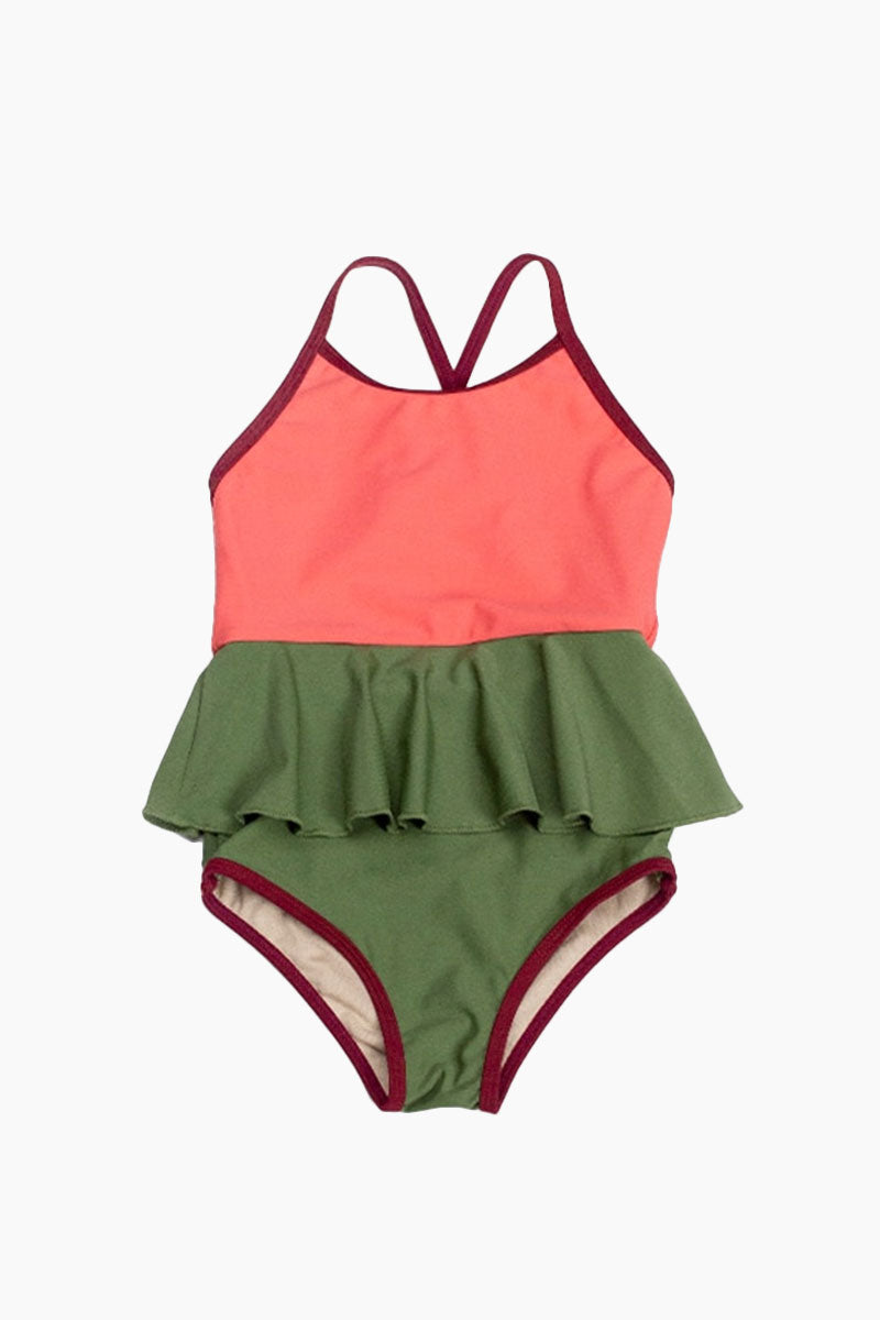 MOTT50 KIDS Mini Federica Color Block Ruffle Skirt One Piece Swimsuit (Kids) - Sugar Coral Pink/Vineyard Green Kids One Piece | Sugar Coral Pink/Vineyard Green| Mott50 Kids Mini Federica Color Block Ruffle Skirt One Piece Swimsuit (Kids) - Sugar Coral Pink/Vineyard Green Kids one piece Ruffle skirt detail Front View