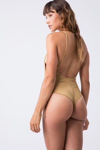 INDAH Playground Side Cinch One Piece - Cairo One Piece | Cairo| Indah Playground Side Cinch One Piece - Cairo Back View Plunging V Neckline Spaghetti Straps Side Boob Exposure Cinched Sides Low Scoop Back High Cut Leg Thong Coverage Italian Shiny Lycra