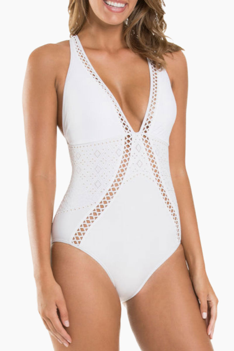 JETS Plunge One Piece Swimsuit - White Crochet One Piece | White Crochet| JETS Plunge One Piece Swimsuit - White Crochet * Plunging V-neckline halter crisscross back detail one piece swimsuit in bright white with crochet detail. Removable cups 	•	Wide halter straps offer extra bust support and fasten at the back of the neck with a clasp closure. * Moderate rear cut shows off your curves while providing cheeky coverage. Front View