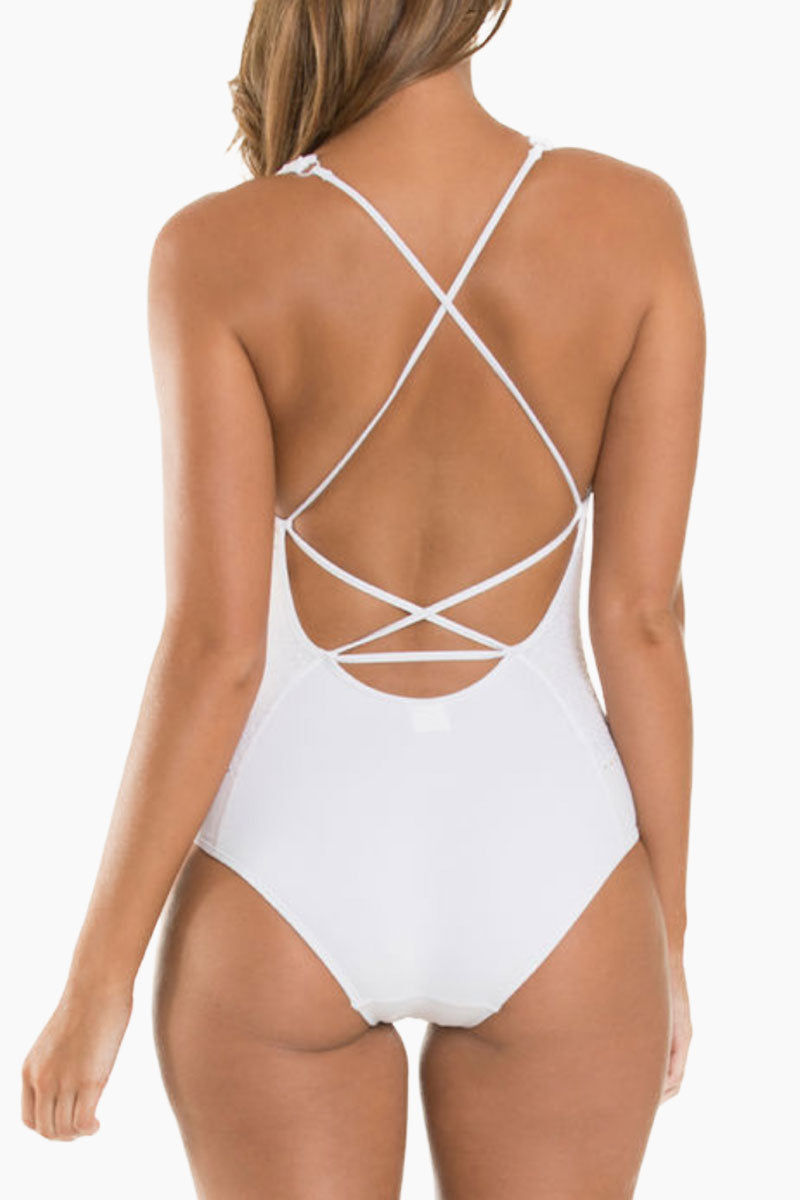 JETS Plunge One Piece Swimsuit - White Crochet One Piece | White Crochet| JETS Plunge One Piece Swimsuit - White Crochet * Plunging V-neckline halter crisscross back detail one piece swimsuit in bright white with crochet detail. Removable cups 	•	Wide halter straps offer extra bust support and fasten at the back of the neck with a clasp closure. * Moderate rear cut shows off your curves while providing cheeky coverage. Back View
